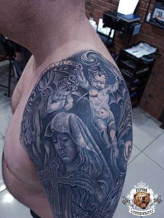 Сделать тату на плече ангелы в Красноярске