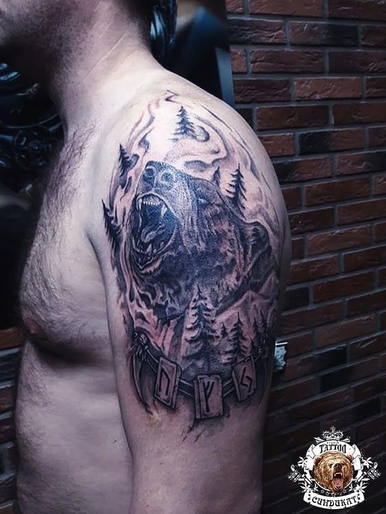 сделать тату на плече медведь в Красноярске