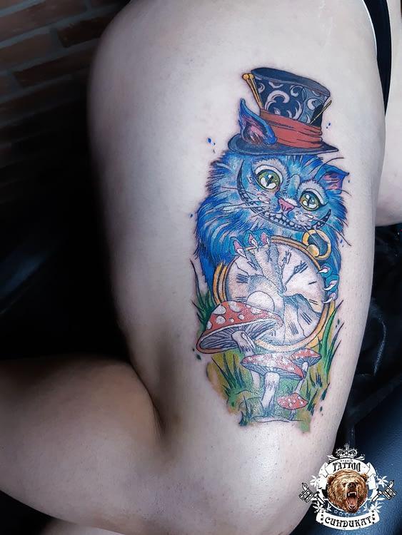 сделать тату на ноге кот из алисы в стране чудес в Красноярске