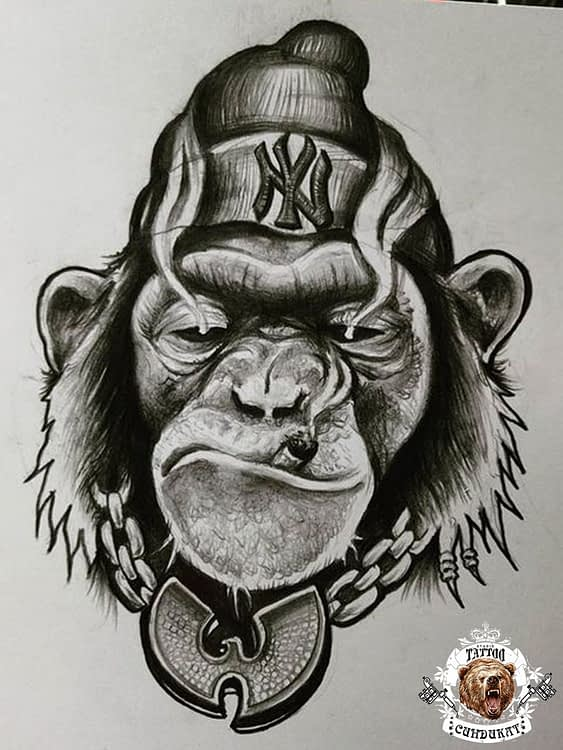 эскиз тату обезьяна