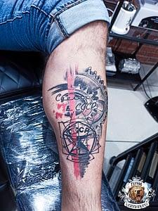 сделать тату на ноге надпись сделан в ссср в Красноярске