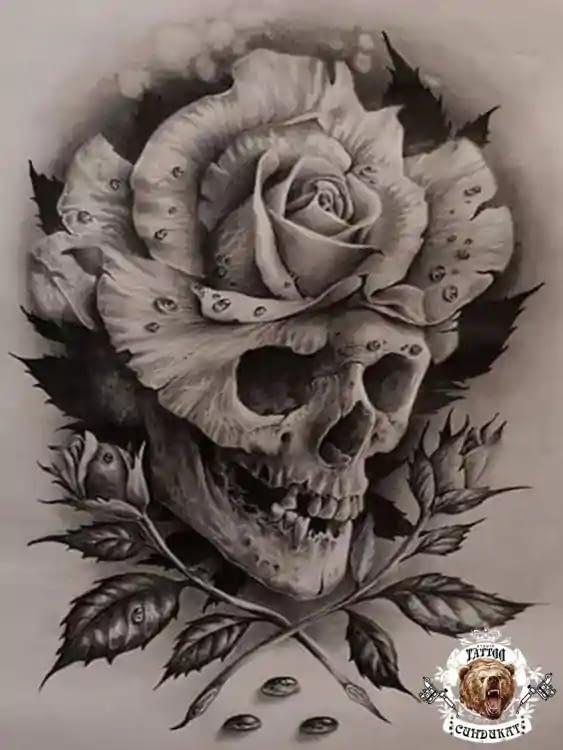эскиз тату череп и роза