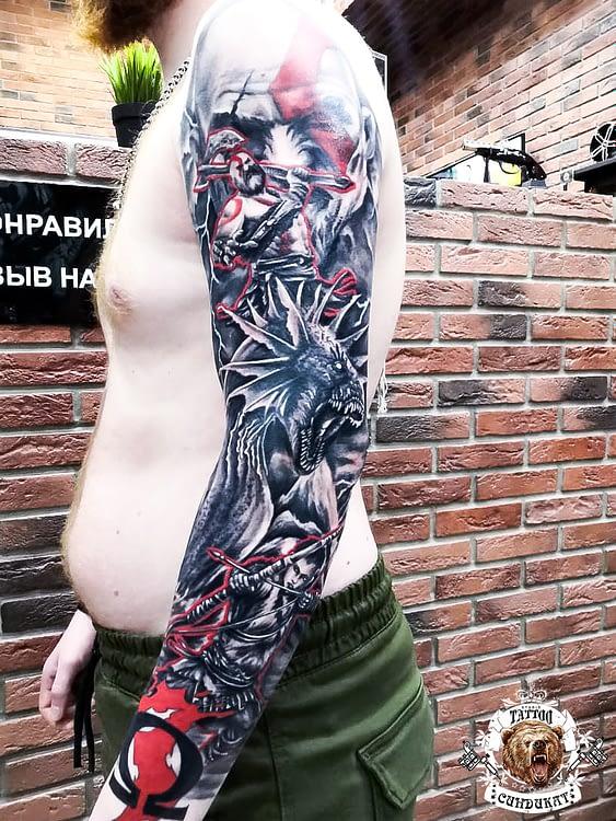 сделать тату на руке (рукав) цветное викинг и дракон в Красноярске