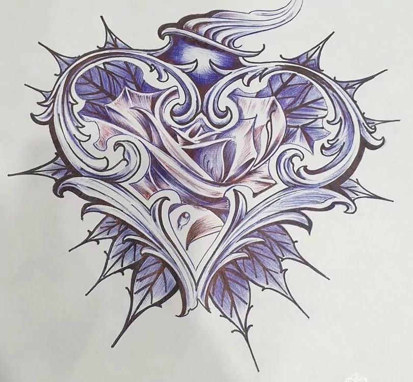 эскиз тату сердце абстракция