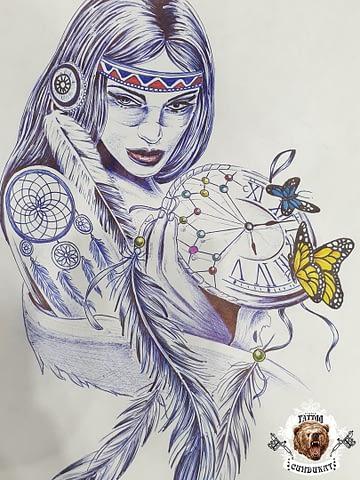 эскиз тату девушка шаман