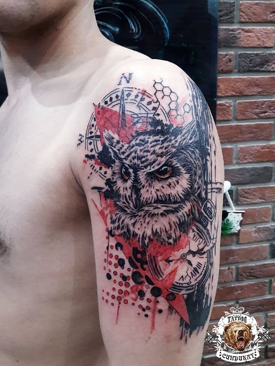 сделать тату на плече филин в Красноярске