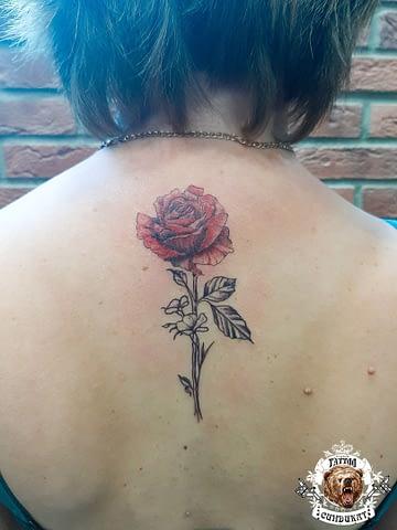 сделать тату на спине роза
