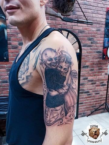 сделать тату на руке бес и ангел в Красноярске
