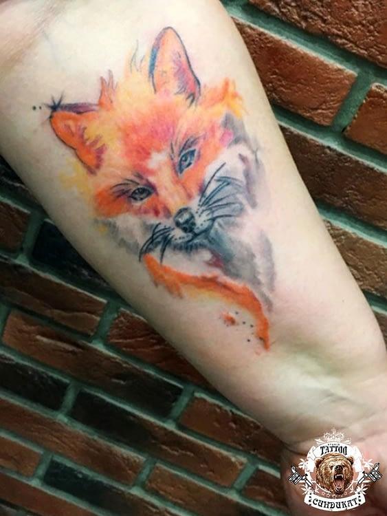 Сделать тату на руке лиса в Красноярске фото