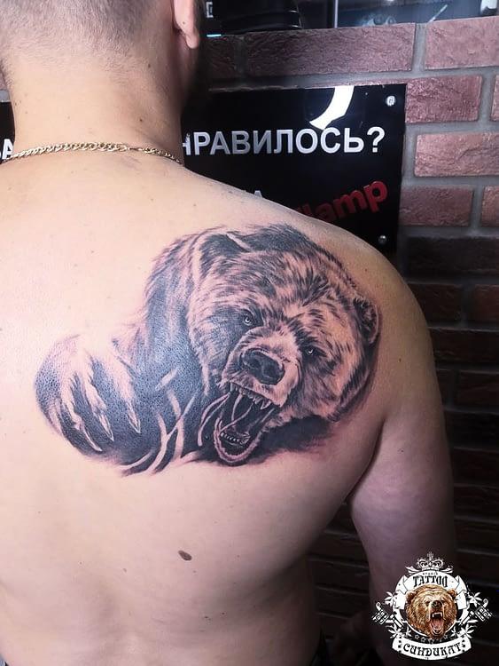 сделать тату на спине медведь в Красноярске