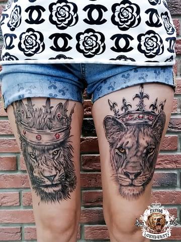 сделать тату на ноге лев и львица в Красноярске