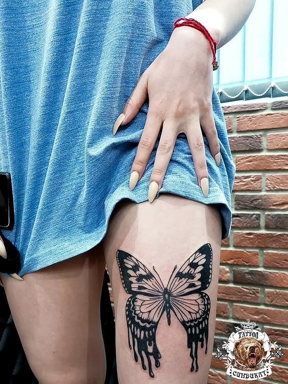 сделать тату на ноге бабочка в Красноярске