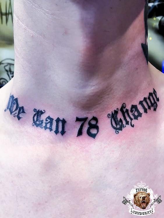 сделать тату на шее надпись в Красноярске