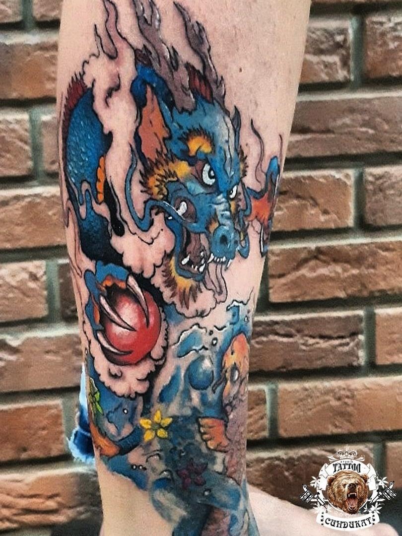 сделать тату на ноге дракон цветной фото в Красноярске