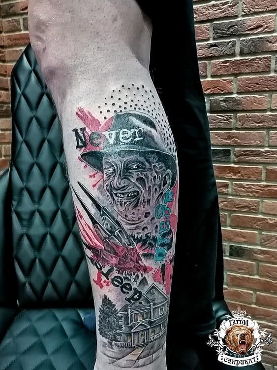 сделать тату на ноге цветное фредди крюгер в Красноярске