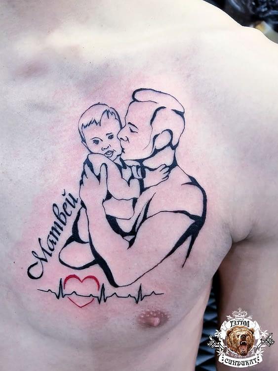 сделать тату на груди отец и сын в Красноярске