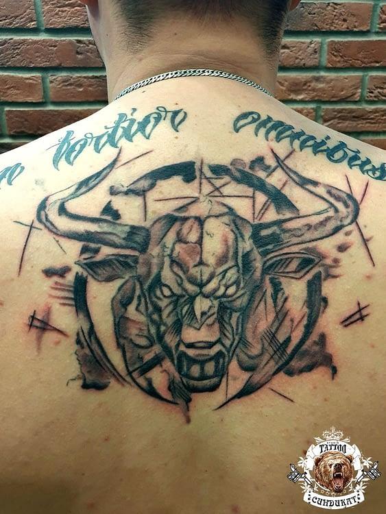 Сделать тату на спине бык в Красноярске фото