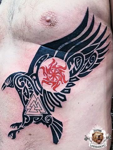 сделать тату на торсе птица старославянские символы в Красноярске