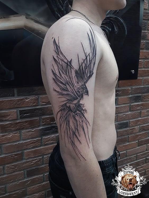 сделать тату на плече птица в Красноярске