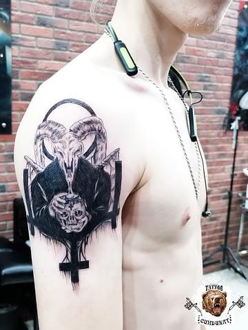 сделать тату на руке черт, сатана в Красноярске