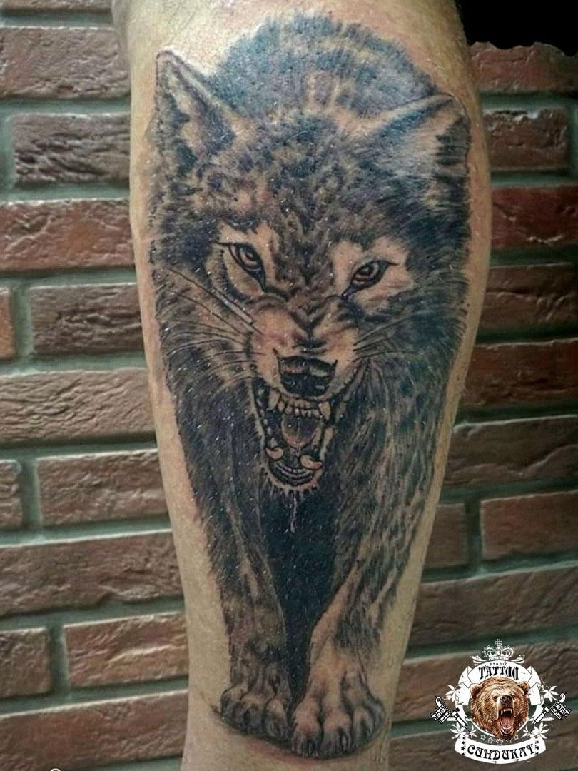 сделать тату на ноге волк