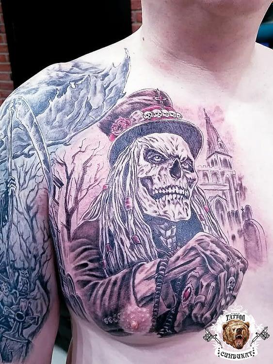 сделать тату на груди скелет в Красноярске
