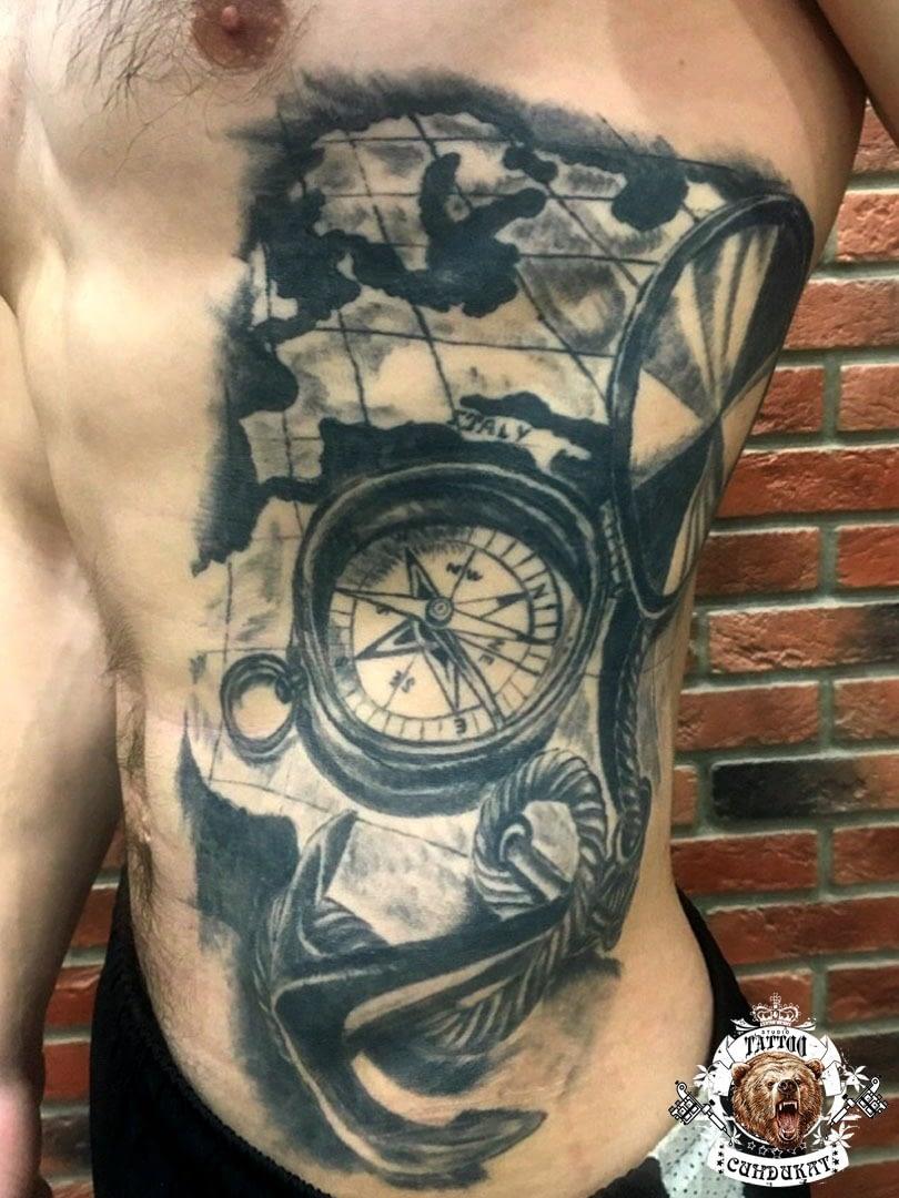 Сделать тату на торсе часы в Красноярске фото