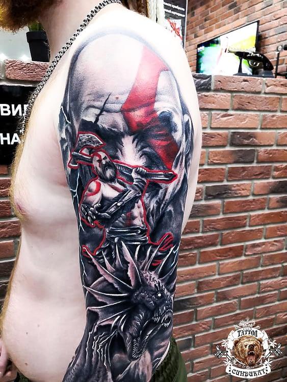 сделать тату на руке цветное викинг и дракон в Красноярске