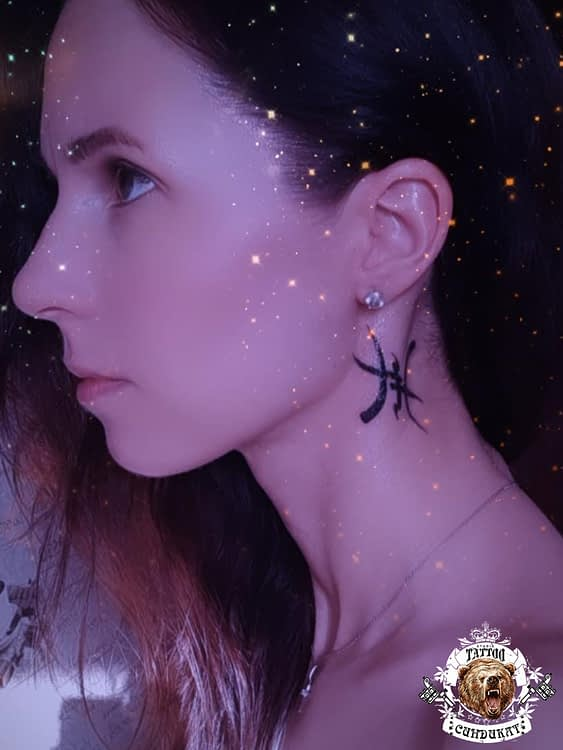сделать тату на шее китайский иероглиф в Красноярске