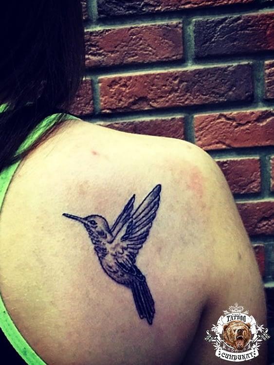 сделать тату на лопатке птица фото в Красноярске